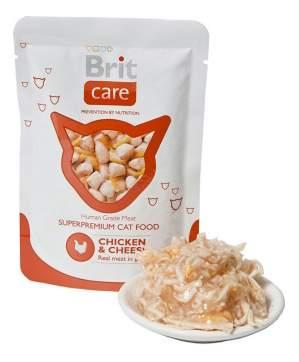 Влажный корм для кошек Brit Care, курица, сыр, 80г