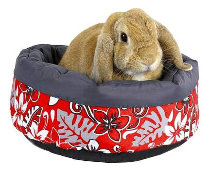 Лежанка для кроликов TRIXIE бортик микрофибра 35x35см красный, серый