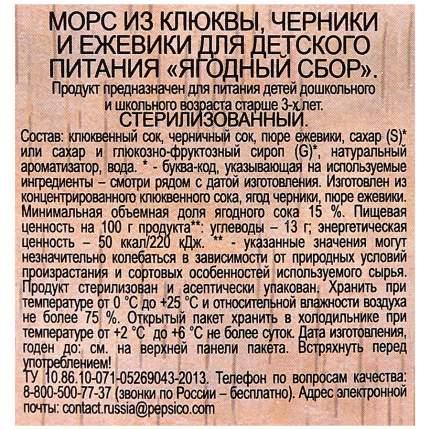 Морс Чудо-Ягода ягодный сбор из клюквы-черники-ежевики 0.97 л