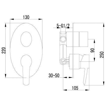 Смеситель для встраиваемой системы LEMARK Atlantiss LM3228C хром