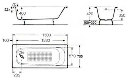 Чугунная ванна Roca Continental 150х70 без гидромассажа