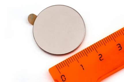 Неодимовый магнит Forceberg диск 25х2 мм с клеевым слоем, 2шт