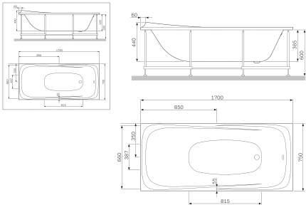 Акриловая ванна AM.PM W30A-170-075W-A