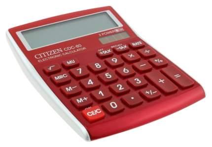 Калькулятор Citizen CDC-80RDWB, 8 разрядов, двойное питание, 135х108 мм, Бургунди