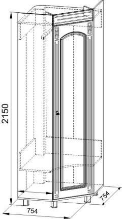Платяной шкаф Компасс-мебель Элизабет ЭМ-1 KOM_EM1_2_1 75,4x75,4x215, орех темный