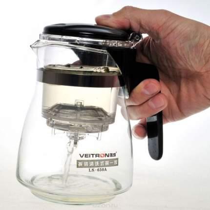 Стеклянный заварочный чайник Veitron с кнопкой, 650 мл