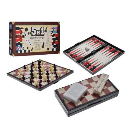 Настольная игра 1Toy 5 в 1 Шашки, шахматы, нарды, карты, домино магнитные Т52452