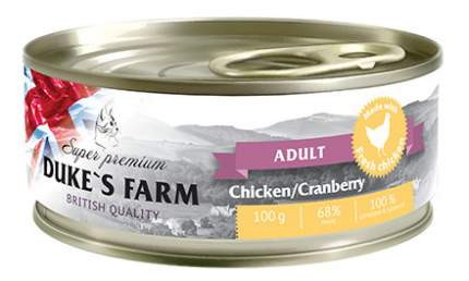 Консервы для кошек DUKE'S FARM Adult, курица, клюква, 100г