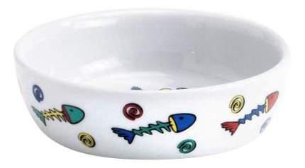 Одинарная миска для кошек I.P.T.S, керамика, белый, 0.2 л