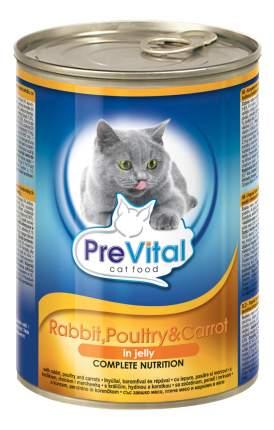 Консервы для кошек PreVital, с кроликом, домашней птицей и морковью в желе, 12шт по 415г