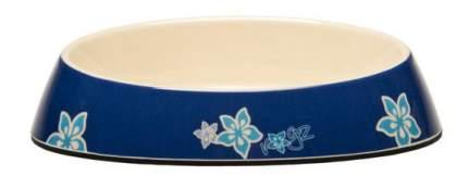 Одинарная миска для кошек Rogz, силикон, керамика, синий, 0.2 л