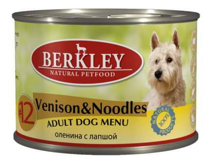 Консервы для собак Berkley Menu, оленина, лапша, льняное масло, 200г