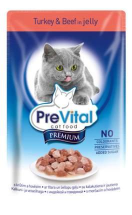 Влажный корм для кошек PreVital Premium, с индейцой и говядиной в желе, 100г