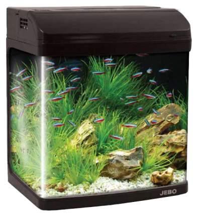 Аквариум для рыб Jebo R 331, влагозащитная поверхность, с изогнутым стеклом, черный, 20 л
