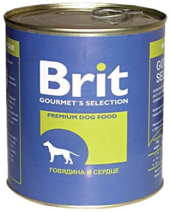 Консервы для собак Brit, говядина, сердце, 850г