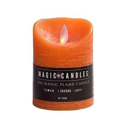 Светильник свеча восковая с живым пламенем, 10*7.5 см, оранжевый, батарейка MB-20199