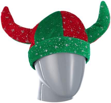 Шутовской колпак с рогами зелено красный Snowmen Е40230
