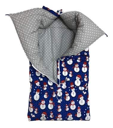 Конверт для новорожденных Снеговики Little Kiddy LK-00020_синий