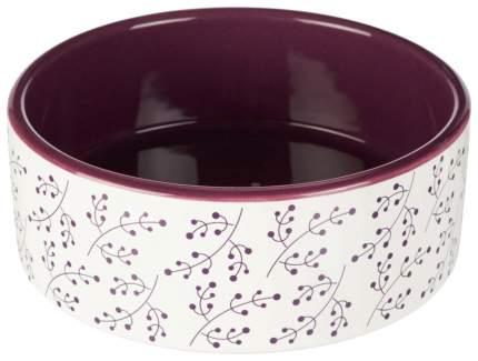Одинарная миска для кошек и собак TRIXIE, керамика, белый, фиолетовый, 1.5 л