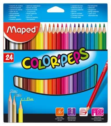 Карандаши цветные COLOR'PEPS, треугольн,24 цв. картон. MAPED