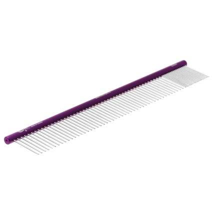 Расческа Hello Pet алюминиевая с круглой фиолетовой ручкой, 30 см, зуб 3,5 см