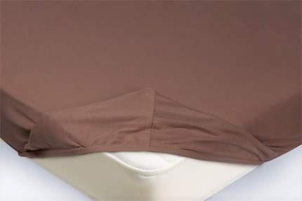 Простыня на резинке Трикотажная светло-коричневая 90х200х20
