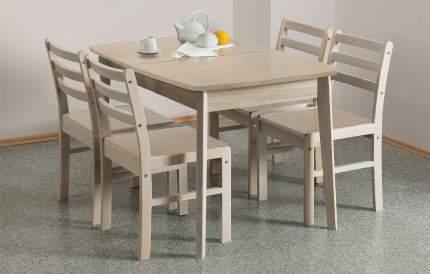 Обеденная группа для кухни Боровичи + 4 стула, выбеленная береза