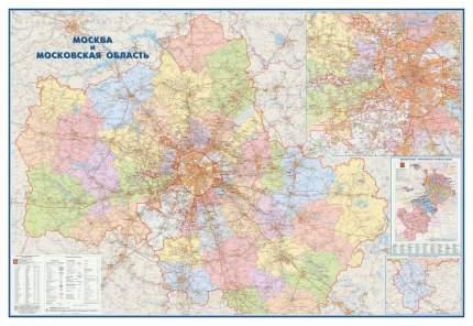 Настенная карта Москва и Московская область админ.1:170тыс.,2,33х1,58м.