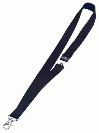 Шнур текстильный для бейджей 44смx20мм с боковым замком и карабином с лого черный 10 шт.