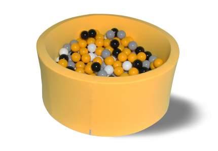 Сухой игровой бассейн Цветочная пыльца желтый 40см с 200 шарами: желт, бел, сер, черн