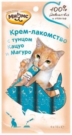 Лакомство для кошек Мнямс Крем-лакомство с тунцом Кацуо и Магуро 4 шт х 15 г