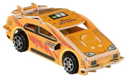Сборная 3D модель Bondibon Гоночная машина с инерционным механизмом оранжевая