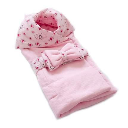Плед-конверт Евгения Весна на пуговицах Сердечки розовый