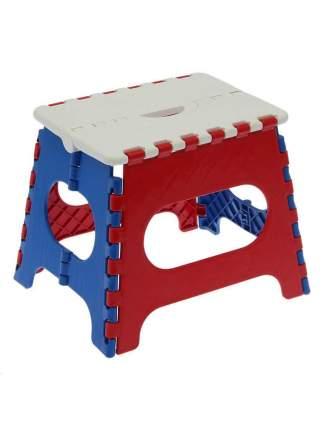 Табурет Трикап складной пластиковый средний, белый/красный/синий