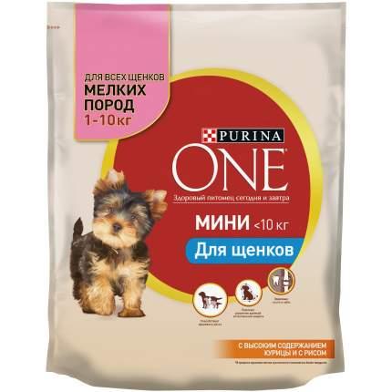 Сухой корм для щенков Purina One Мини, курица, рис, 0.6кг