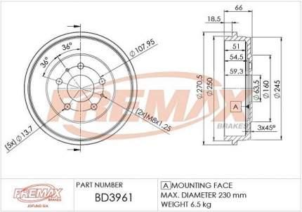 Тормозной барабан FREMAX BD-3961