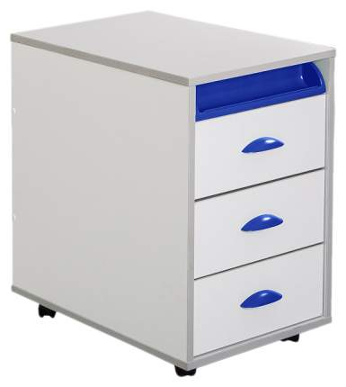 Тумбы выкатная на 3 ящика + выдвижной пластиковый пенал ТУВ-02W белый, синий