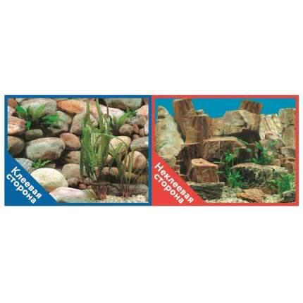 Фон для аквариума Prime Каменная терасса/Каменный рельеф, винил, 60x30 см