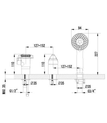 Смеситель для ванны на борт LEMARK Poseidon LM4245C хром