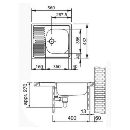 Мойка для кухни из нержавеющей стали Franke ETN 611-56 1010174517 сталь