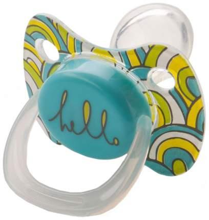 Силиконовая пустышка ортодонтическая Happy Baby Baby Pacifier Голубой с колпачком