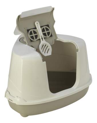 Туалет для кошек MODERNA Flip Corner, угловой, серый, 55х45х38 см