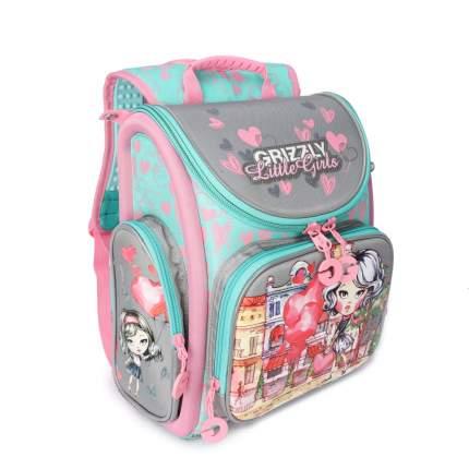 Школьный Рюкзак для девочки Grizzly Ra-971-3 Серый - Розовый