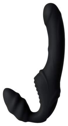 Черный безремневой страпон с вибрацией