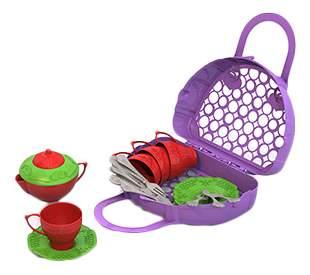 Набор посуды чайный сервиз волшебная хозяюшка, 22 предмета в сумке-корзинке