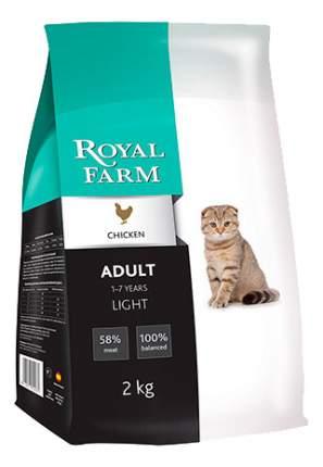 Сухой корм для кошек ROYAL FARM Light, при избыточном весе, курица, 2кг