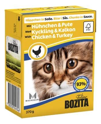Консервы для кошек BOZITA Feline Chunks In Sauce с индейкой и курицей в соусе 16шт по 370г