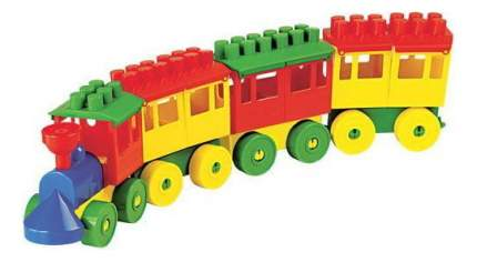 Конструктор пластиковый Полесье Паровоз с тремя вагонами