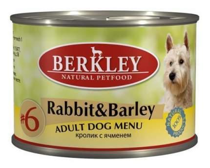 Консервы для собак Berkley Menu, кролик, ячмень, 200г