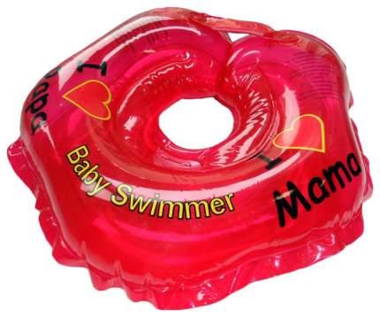 Круг для купания на шею Baby Swimmer Я люблю BS21R Красный